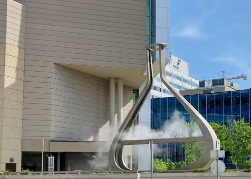 Erlenmeyer flask fountain behind Millenium Library.