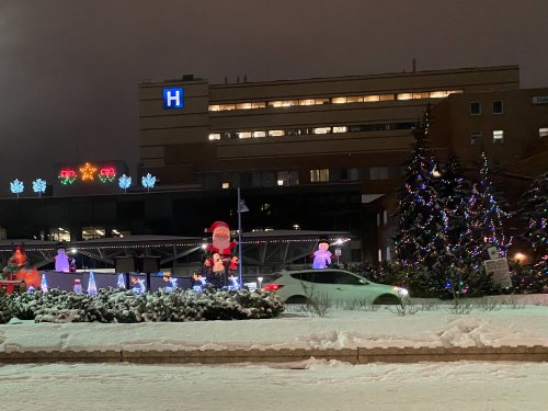 Light display in front of the Children's Hospital.